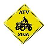 Fastasticdeals ATV Crossing Metal Aluminum Novelty Sign 12 in x 12 in