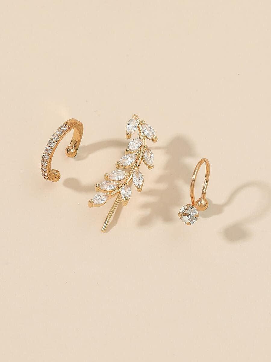 ANBF Hoop Earrings 3pcs Zircon Decor Ear Cuff (Color : Gold)