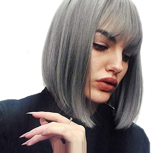 Silver Gray Short Bob Wig with Bangs Straight Wig Heat Resistant Fiber Synthetic Wigs for Women Halloween Cosplay and Daily Use + Free Wig Cap(Grey)