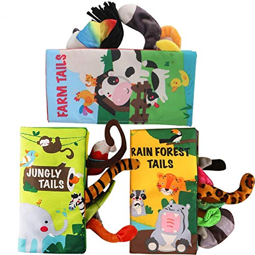 beiens Soft Baby Cloth Books,Touch and Feel Crinkle Tail Books, Cloth Books Set for Babies,Infants & Toddler Early Children Development Interactive Baby Girl & Baby Boy Toys Gift (Set of 3)
