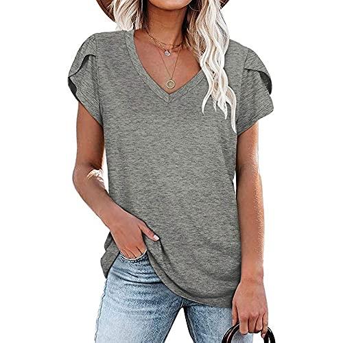 Mayntop Camiseta de verano para mujer, color liso, manga corta, manga corta, con pétalo, ajuste holgado, para mujer, A-gris, 46