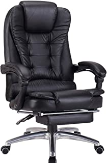 LJFYXZ Home Office Desk Chair 74cm high Back Double Layer Design Business Reclining Computer Chair with footrest PU Cushion Aluminum Alloy Foot Bearing Weight 200kg Black/Brown (Color : Black)