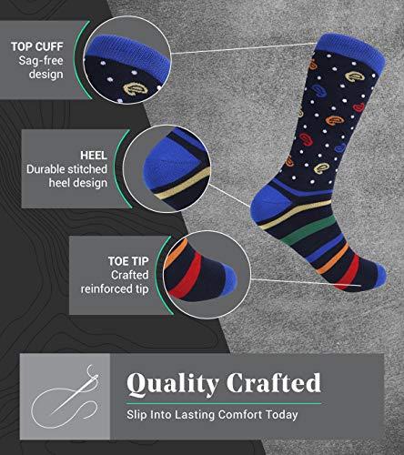 Marino Men's Dress Socks – Colorful Funky Socks for Men – Cotton Fashion Patterned Socks – 12 Pack