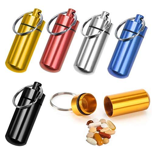 ASEOK 6 Stück Outdoor Aluminium Wasserdichte Pillenbox Pillendose Schlüsselanhänger Pillendose Schlüsselanhänger Aluminium Legierung bunt Mini Aluminium Pillen Kapsel Dichtung Pillen Halter Tragbar