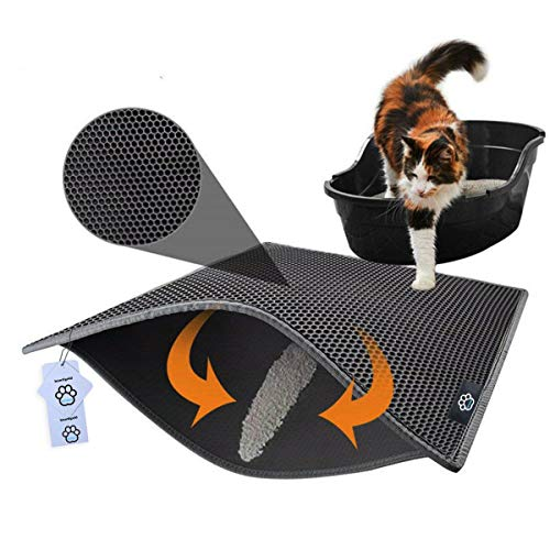 Huntfgold Katzenstreu Matte Doppelt Schichte Katzenklo-Matte Wasserdichte Katzenklo Vorleger