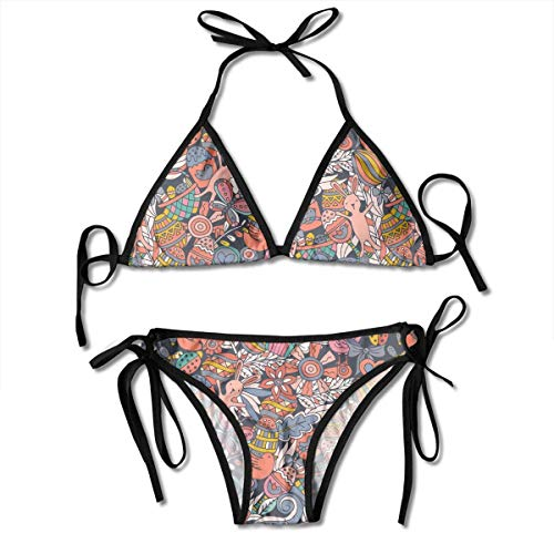 Badeanzug Einstellbare Cartoon Hand Drawn Doodle Frohe Ostern Sexy Bikini Set 2 Stück Schwarz