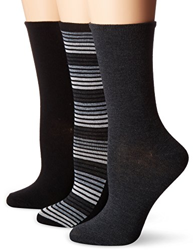 No Nonsense Women's Flat Knit Crew Sock, 3 Pair Pack, Striped-Black/Grey, 4-10