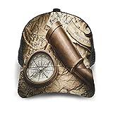 Gorra de Beisbol Espalda de Malla Senderismo al Aire Libre Sombrero Deportivo,Bodegón Vintage con brújula sextante catalejo y Mapa Antiguo,Gorra de Sol de Enfriamiento para Hombres Mujeres