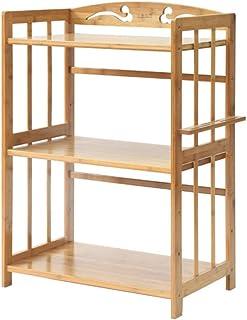 Soporte de microondas de madera sólida de 3 niveles Carro de almacenamiento con ruedas Cocina Horno Estante Carrito Estaci...