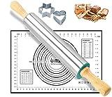 Rouleau à pâtisserie en acier inoxydable et silicone - Ensemble de tapis de pâtisserie : ensemble...
