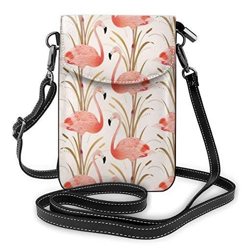 Lsjuee Modische rosa Flamingo Ananas und exotische Blätter Handy Kleine Schultern Tasche Umhängetasche Smartphone Outdoor-Pack für Reisen Arbeit Einkaufen Walking Pink Flamingo Clipart Style