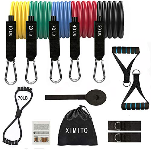 Ximito Resistance Bands set 13PCS Exercise Bands for Home Fitness, Stackable up to 150 lbs Workout Tubes for Indoor and...
