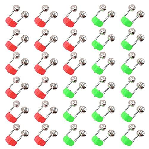 Brateuanoii 30 Stücke Angelglocke, Glocken Angeln, Angel Klingel, Bissanzeiger Angeln Glocke, Angelzubehör Bissanzeiger Glocken, für Outdoor Angeln Angelrute Doppelglocken (Rot, Grün)