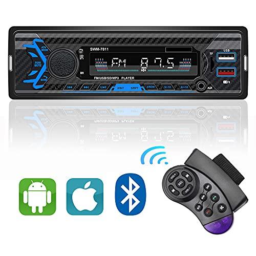 Deecam Autoradio Bluetooth, Radio Coche con Mando por Control Remoto, FM Sonido Estéreo, Doble Puerto USB, Llamadas Manos Libres, Carga rapida , Soporta TF/FM/AM/AUX/MP3/WMA/WAV/USB/SD