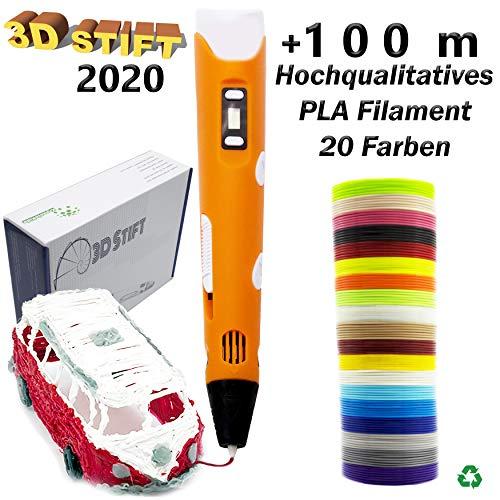 KreativKids 3D Stifte. 3D Stift inkl. 100 m PLA Filament. 3D Druck Stift mit LCD Bildschirm, für Kinder und Erwachsene. PLA Filament 20 Farben x 5m Φ 1,75mm