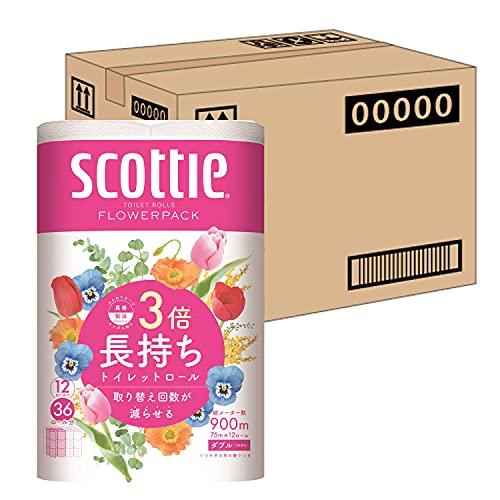 【ケース販売】 スコッティ フラワーパック 3倍長持ち トイレット12ロール 75mダブル ×4パック入り