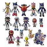 Figura de Sonic 9 unids/set figura grande+6 unids/set pequeña figura llavero metal juguete Sonic fel...