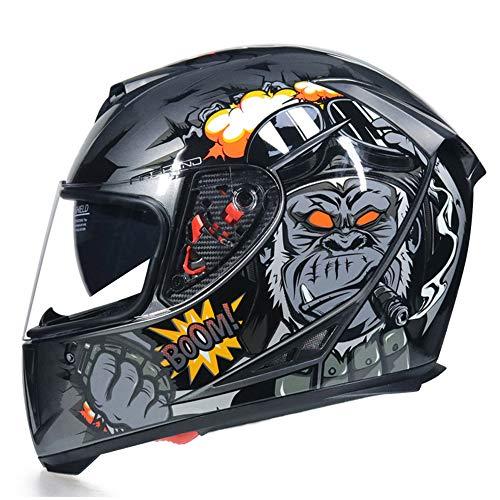 LQQZZZ Motorradhelm, Motorrad, Motorrad Full Face Helm Für Erwachsene Mit Sonnenvisier, Verwendet ABS Crash-Proof-Shell Und Abnehmbares Unisex-Futter Unisex,A,S