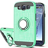 S3 Case,Galaxy S3 Phone Case with HD Screen Protector, YmhxcY 360 Degree Rotating Ring & Bracket Dual Layer Shock Bumper Cover for Samsung Galaxy S3 S III I9300 GS3 All Carriers-ZH Mint