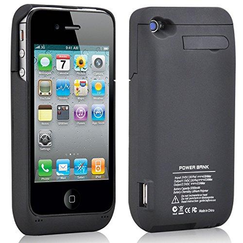 Qi - Carcasa para iPhone 4, 4G y 4S (3000 mAh, Cargador inalámbrico, transmisor de Carga Qi estándar)