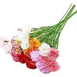Flor Artificial Decorativa 7 Piezas Ramo de Rama Larga de Clavel para la decoración de la Boda en casa DIY Flor Falsa de Seda del día de la Madre