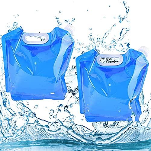 Yisscen Bolsa de Agua Plegable, 2 Piezas 5L Contenedores de Agua Plegables, Bolsa de Tanque Plegable para Acampar, Barbacoa para Acampar al Aire Libre Barbacoa de Picnic (Azul)