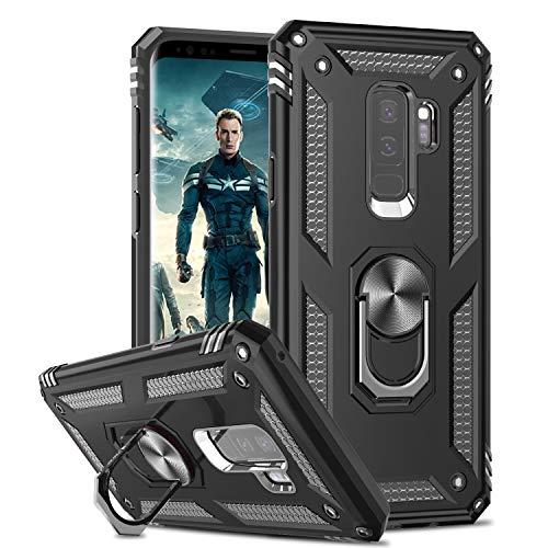LeYi Funda Samsung Galaxy S9+ S9 Plus Armor Carcasa con 360 Anillo iman Soporte Hard PC y Silicona TPU Bumper antigolpes Fundas Carcasas Case para movil Samsung S9 Plus,Negro
