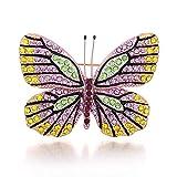 WATERMELON Spilla a Forma di Farfalla con Strass Colorata Spilla a Forma di Goccia di Insetto Viola per Donna Pin Ornament 5.5 * 3.5Cm