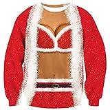 ALISISTER Navideña Sudadera 3D Patrón Bikini Falso Dos Piezas Jerséis Christmas Jumpers Rojos Hombres Adolescentes Fiesta Festiva Celebración Suéter L