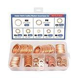 XTVTX 150PCS Arandelas de cobre macizo, Empaque de arandela de surtido de sellado en caja Sujetador de hardware de junta de combinación (8 tamaños)
