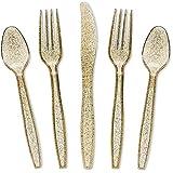 Gold Glitter Silverware Set, Plastic Party Utensils (96-Pack)