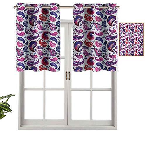 Hiiiman Cenefa de cortina para ventanas de privacidad interior, diseño de acuarela atemporal, juego de 2, 42 x 24 pulgadas para puerta corredera de patio o comedor