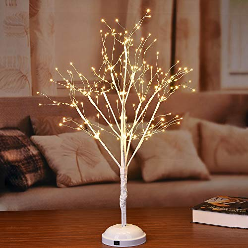 Lightshare 35-inch Starlit LED Bonsai Tree Lamp Night Light,Warm White, 270 LED Lights, Battery Powered or DC Adapter(Included)