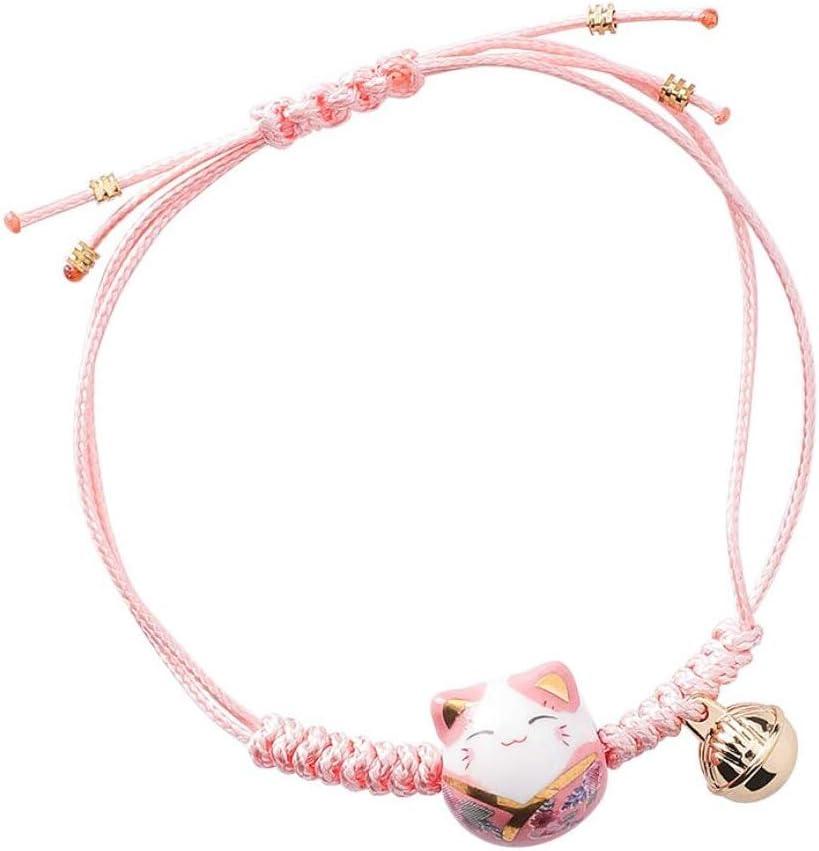 EatingBiting Feng Shui Lucky Ceramics Cat Maneki Neko Fortune Good Luck Wealth Bracelet Beads Bracelets Adjustable Wealth Health Fortune Rich Money Symbol for Purse Bag Bracelet Key Chain Cellphone