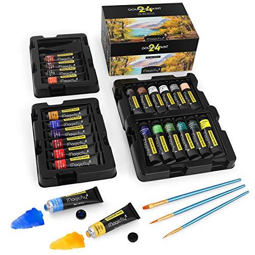 Magicfly 24 Colors Gouache Paint, Gouache Tubes Paint (24x18ml/0.6oz), 24 Vibrant Colors, Non Toxic Paints With Storage Box for Beginner, Professional Artist, for Canvas Watercolor Paper