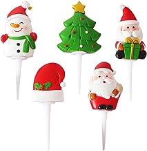 KESYOO 5Pcs Christmas Cake Topper Santa Hat Snowman Xmas Tree Cupcake Insert Fruit Dessert Picks for Holiday Seasonal Part...