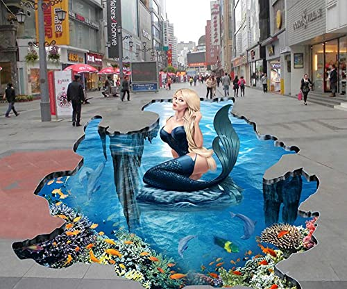 Baño De La Etiqueta Engomada Del Piso Piso Personalizado Playa Sirena Mundo Submarino 3D Baldosas Estéreo Decorativo-400 * 280 Cm Para El Dormitorio De La Sala De Estar Del Hogar