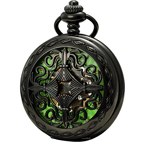 SEWOR Mens Luminous Dial Hand Wind Mechanical Pocket Watch with Brand Leather Gift Box (Stand Up Black) (Green)