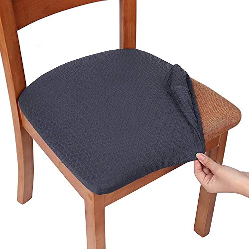 Homaxy Stretch Spandex Jacquard Esszimmerstuhl Sitzbezüge, herausnehmbarer waschbarer Anti-Staub Esszimmerstuhl Sitzkissen Hussen - 6er Set, Dunkelgrau