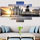 5 pz. 200 x 100 cm Stampa su Tela Canvas Duomo di Milano, Italia Quadro su Tela Arredo per Soggiorno Salotto Camera da Letto Cucina Ufficio Bar Ristorante(Senza Telaio)