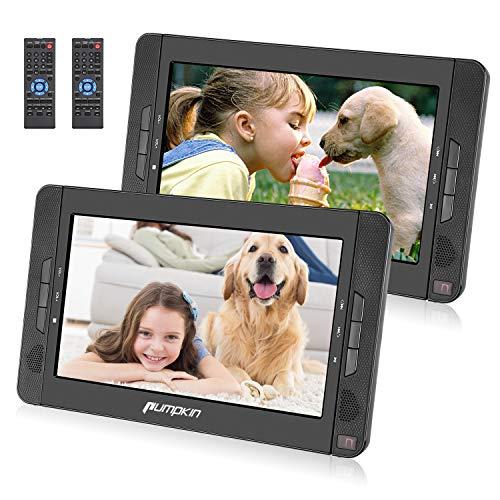 PUMPKIN Lettore dvd portatile auto poggiatesta per bambini, doppio schermo da 10.1 pollici con supporto, lunga durata da 5 ore, supporta AV IN/AV OUT/USB/SD/MMC/region free