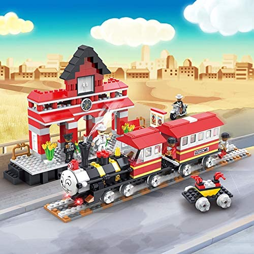 Lodestone COGO Locomotive Train Set with Railway Station, Interlocking Model Building Kit of 464 Pieces, for Children...