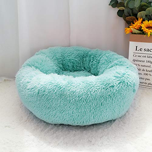 Fluffy Kalmerende Dog Bed lange pluche Donut Pet Bed Hondenmand Ronde Orthopedische Lounger Slaapzak Kennel Puppy Cat Slaapbank House (Color : Green, Size : Diameter 60cm)