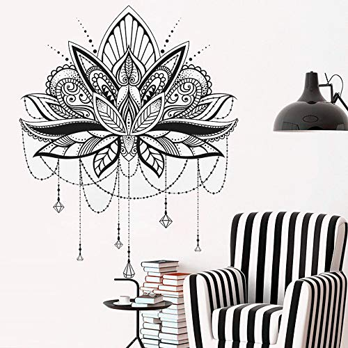 TELEGLO Vinyl Wandtattoos Mandala Lotus Muster Wandaufkleber Yoga Studio Dekoration Lotus Design Mandala Aufkleber Große Wandbilder 84x104cm