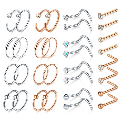 Mayhoop 20G Nose Rings Set Surgical Steel Nose Studs Nose Screw CZ Nose Piercing Jewelry for Women Men Rose Gold and Silver Color 32Pcs Set 1