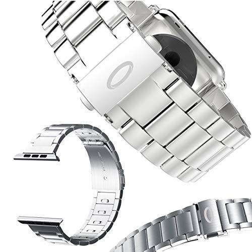 Trop Saint® Bracelet Compatible avec Apple Watch (40mm/38mm) Fermoir Métalique réglable - Argent - pour iWatch Series 1/2/3/4/5/6/SE Edition/Sport