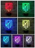 Lámpara de noche Fc Club Atlético de Madrid LED 3D ilusión niños liga fútbol logo Los Colchoneros mesita de noche niño niño