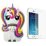Mulafnxal 3D Unicorn Coque pour iPhone SE/5/5S/5C,Housses de téléphone,TPU Silicone...