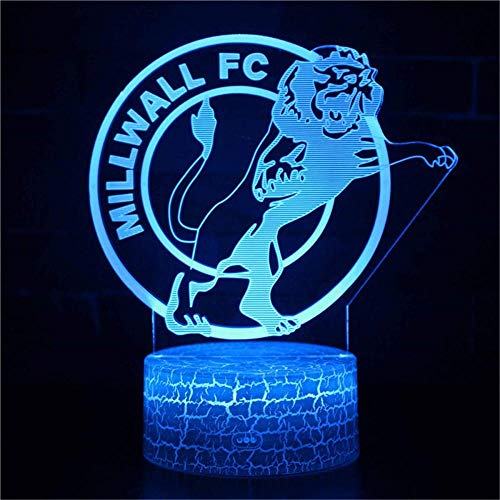 3D Night Light for Millwall Fc 3D Illusion Lamp 3D Night Light for Kids, Best Gifts Toys for Boys Girls
