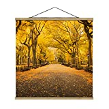 Bilderwelten Imagen de Tela - Autumn In Central Park - 80cm x 80cm, Material: Roble